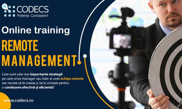 Remote Management – Training Online 22-23-24 aprilie 2020